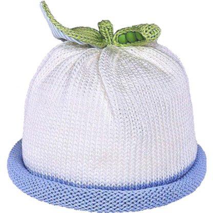Sweet Pea knit hat blue roll on white cap