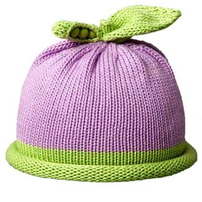 Sweet Pea knit hat green roll on lavender cap