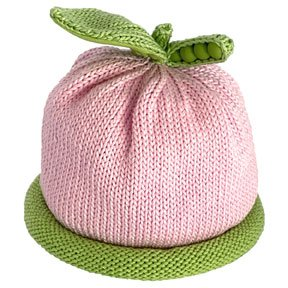 Sweet Pea Knit Hat in Baby Pink with a green rolled brim