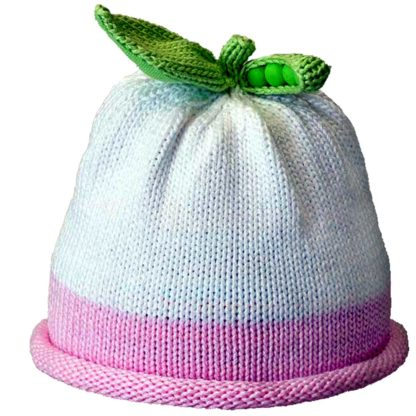 Sweet Pea knit hat pink roll on white cap