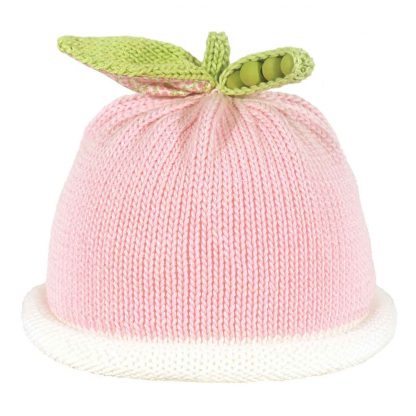 pink knit hat with white roll brim with a sweet pea pod as a decoration on the top