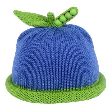 sweet pea, knit hat, green roll brim,onm medium blue,