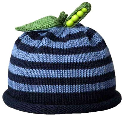 Sweet Pea knit hat blue and navy stripe
