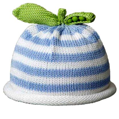 Sweet Pea knit hat blue and white stripe