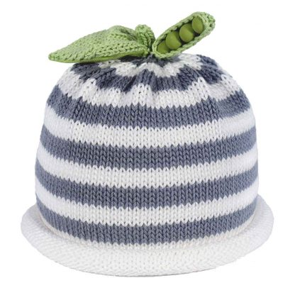 gray white strped knit hat with the green peapod on the top