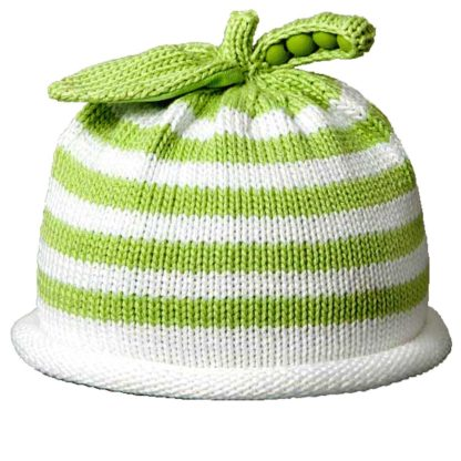 Sweet Pea knit hat green and white stripe