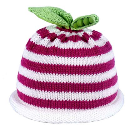 white fuchsia striped knit hat white roll brim green sweet pea on the top