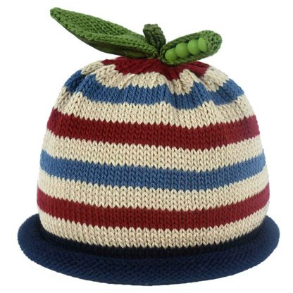 Blue, Burgundy and Khaki striped knit hat with navy blue rolled brim, decorated with green knit sweet pea pod and leaf on top