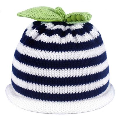 white navy striped knit hat white roll green sweet pea on top