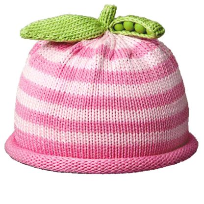 Sweet Pea knit hat two tone pink stripe
