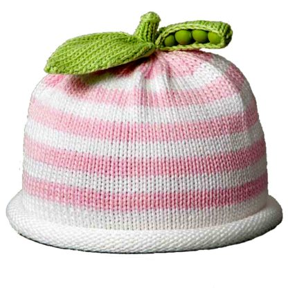 Sweet Pea knit hat pink and white stripe