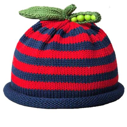 Sweet Pea knit hat red and navy stripe