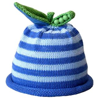 Sweet Pea knit hat sky blue and ocean blue stripe