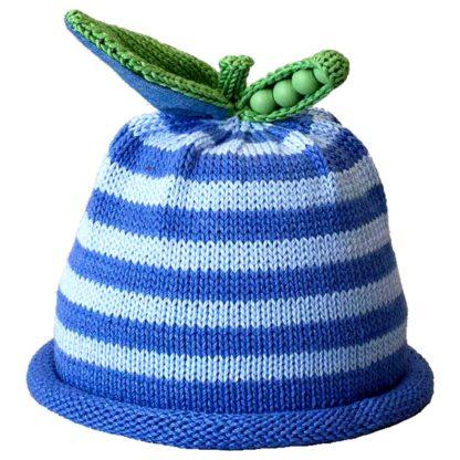 Sweet Pea knit hat sky blue and ocean blue stripe