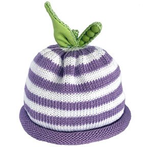Lavender and white stripped knit hat with the green pea pod on the top
