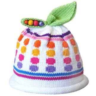 Sweet Pea knit hat multi color dots and stripes on white cap