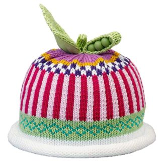 Sweet Pea knit hat red and white vertical stripes with royal blue checked stripe and green stripe