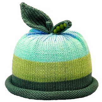 Sweet Pea knit hat with wide stripes in aqua, green and forest green roll band