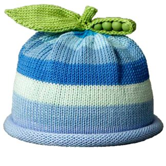 Sweet Pea knit hat with wide stripes in multiple shades of blue and white