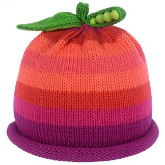 Sweet Pea knit hat with multi color stripes in Purple, Red, Pink, Peach