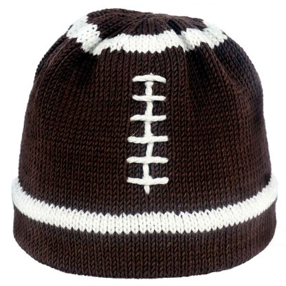 knit hat that looks like a football