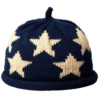 Navy knit hat with rolled brim, and large white stars
