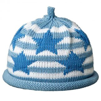 Knit hat with white stripes on light blue cap decorated blue stars