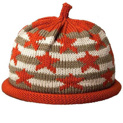 Khaki and white striped knit hat with deep orange stars, rolled brim and crown