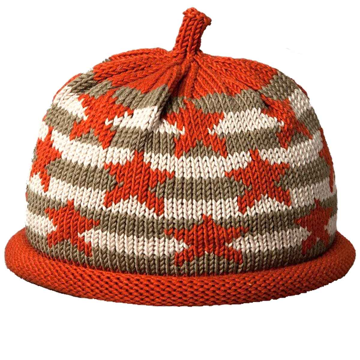 5857d1d93ba Falling Stars Rust on Khaki Striped Knit Hat - Margareta Horn Design