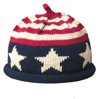 Knit hat with rolled brim with USA flag motif. The crown is red and white stripes and the base is navy with large white stars
