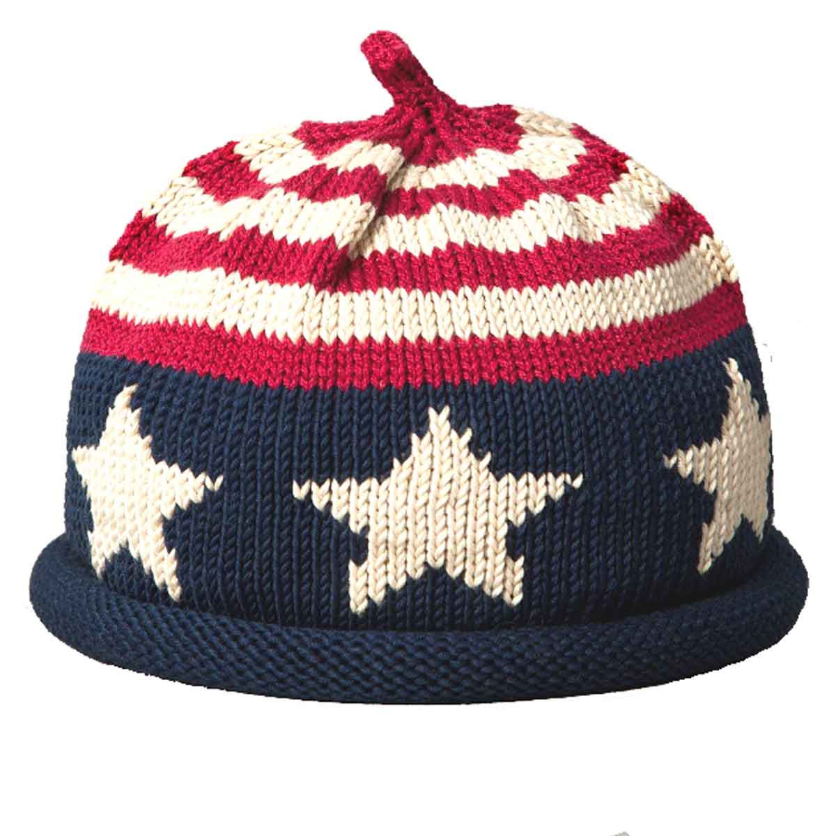 71b8892dd21 Knit hat with rolled brim with USA flag motif. The crown is red and white