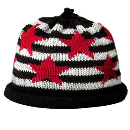 Black and white knit hat with Red stars and black roll brim