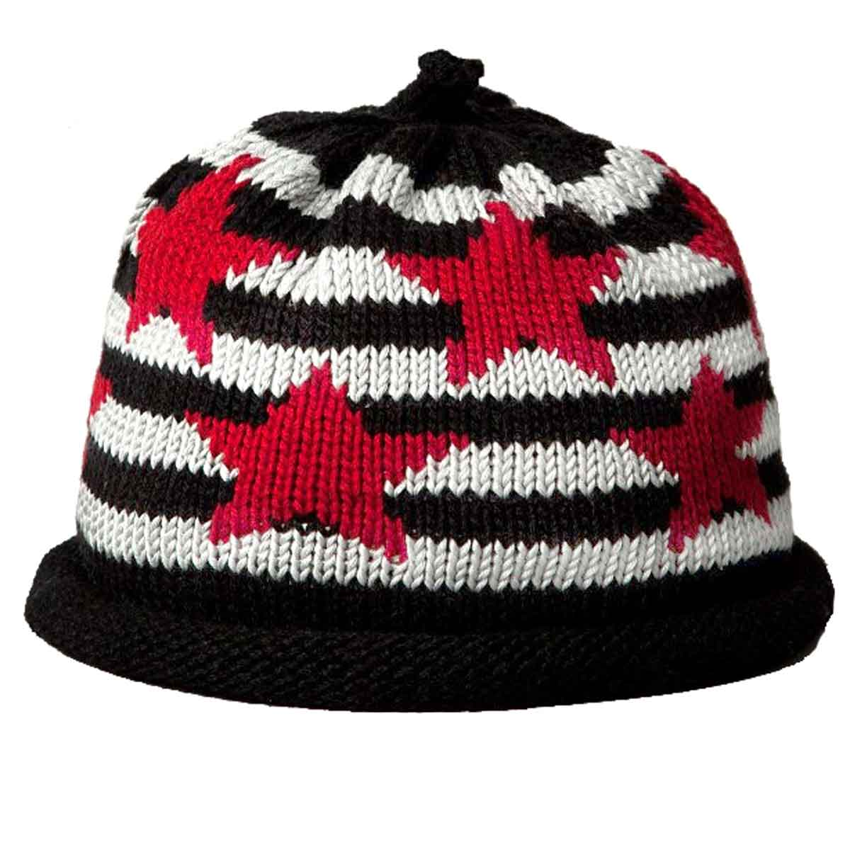 Red Stars on Black Striped Knit Hat - Margareta Horn Design 3cc19a7357d