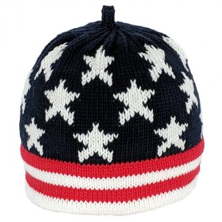 USA flag inspired knit hat in navy, red and white. The cap is navy with white stars and the brim is red and white striped.