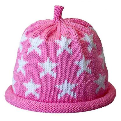 Pink knit hat with white stars