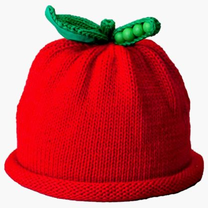 Sweet Peas Knit Hat in Bright Red