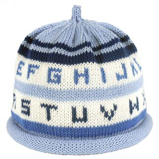 Blue and white striped knit hat with the alphabet in various shades of blue around the hat