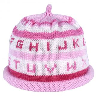 Pink and white striped knit hat with alphabet printed in shades of pink around the hat