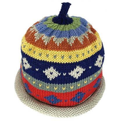 Knit hat in folklore design with horizontal stripes in different widths and diamond patterns inside the stripes